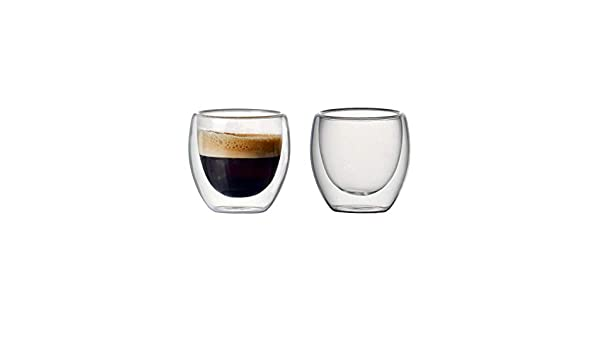 ZZKHSM Set of 2 80ml Double-Wall Insulated Glass Coffee Cup Set for Drinking Teacup of Coffee Latte Espresso Cup or Drinking Cup