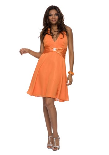 Astrapahl Damen Cocktail Kleid Neckholder mit Details, Knielang, Einfarbig, Gr. 38, Orange - Details Damen Kleid
