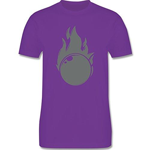 Bowling & Kegeln - Kegeln Flammen Kugel einfarbig - Herren Premium T-Shirt Lila