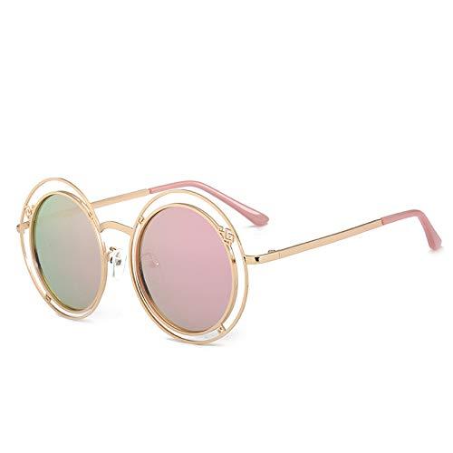 Yangjing-hl Sonnenbrillen Mode runden Rahmen Sonnenbrillen koreanische Version der Big Box Face Repair vielseitige Sonnenbrille C pink