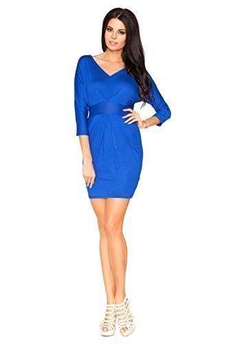 Futuro Fashion Damen Abend Empire Minikleid V-Ausschnitt 3/4 Ärmel Bleistift-stil Trikot 8182 Größen 8-18 UK Königsblau
