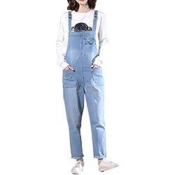 LAEMILIA Salopette Femme en Jeans Combinaison Grande Taille Bodysuit Pantalon Denim CasualBleu clairEU 42(Tour de taille96cm)