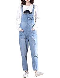 LAEMILIA Salopette Femme en Jeans Combinaison Grande Taille Bodysuit Pantalon Denim Casual
