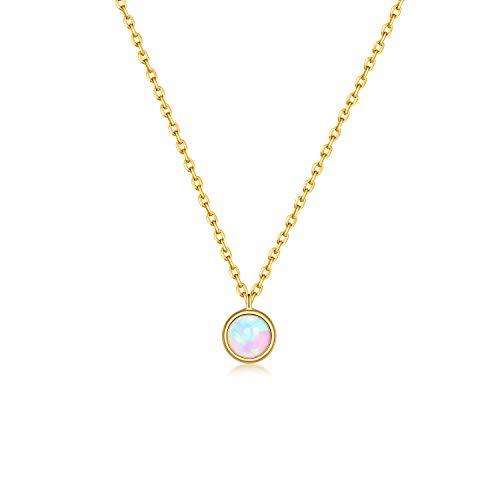 Onchic Kette Damen Opal Anhänger Halskette für Frauen Retro Boho 925 Sterling Silber Halskette 18 Karat Vergoldete Halskette für Frauen