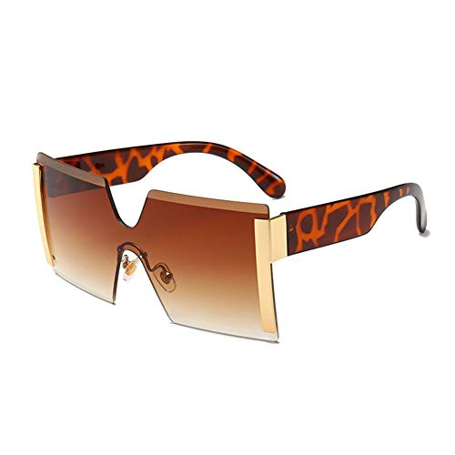 Z&HA Extra Large Square Sonnenbrille Frameless Shield One Piece Harz-Objektiv Crystal Cut Gläser UV400 Männer & Frauen Unisex Outdoor Neu,04