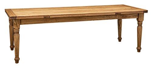 Biscottini Table à rallonge en Bois Massif de Tilleul, Finition Noyer L250xPR100xH80 cm