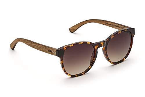 TAKE A SHOT - Große runde Holz-Sonnenbrille Damen, Holz-Bügeln und Kunststoff-Rahmen, UV400 Schutz, rückentspiegelte Gläser - Duchess -