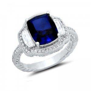 Blu zaffiro taglio cuscino Centro Signity CZ Anello di fidanzamento in argento Sterling, argento, 57 (18.1), cod.