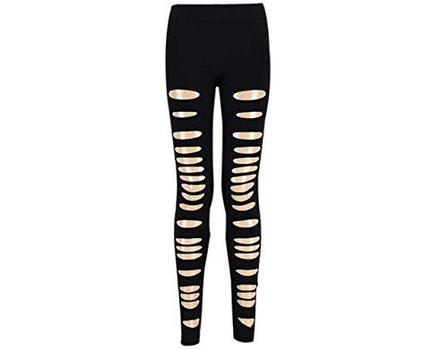 BOLAWOO Punk Leggins De Mujer Leggings Estilo Rotos Pantalones Fiesta Recortados con Agujeros Chern Pantalones De Lápiz (Color : Negro, Size : One Size)