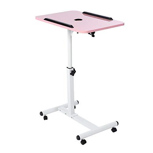 Gototop tavolino da letto carrello con ruote tavolino porta pc notebook proiettore laptop divano laptop desk con rotelle altezza regolabile 64cm-88cm (rosa)