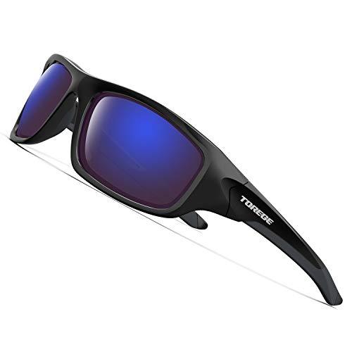 Torege Polarisierte Sport-Sonnenbrille für Männer/Frauen, zum Radfahren, Laufen, Angeln, Golfen, TR90unzerbrechlicher Rahmen TR011 (Black Frame With Blue Lens)