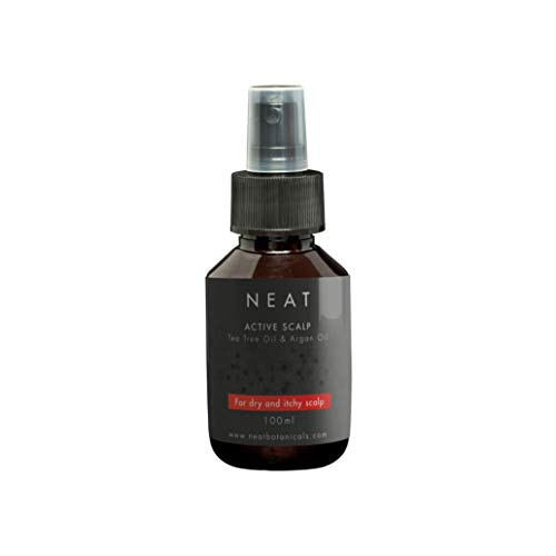 Spray bei trockener Kopfhaut von NEAT Active Scalp | Behandlung von juckender und gereizter Kopfhaut und gegen Schuppen | 100% bio und vegan mit ätherischen Ölen Teebaumöl und Arganöl | 100ml -