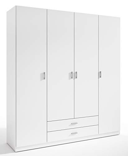 Miroytengo Armario ropero Grande 4 Puertas 2 cajones Color Blanco Dormitorio 216x200x53 cm
