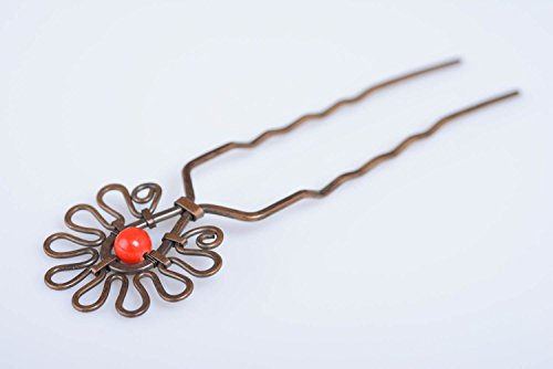 Ungewohnliche Kupfer Doppel Haarnadel Wire Wrap mit roter Kugel fur Damen (Stil - Doppel-kugel)