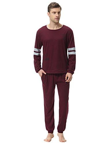 Aibrou Clásico Pijamas Hombre invierno algodon Mangas Pantalones Largos Set,Suave,Cómodo y Agradable