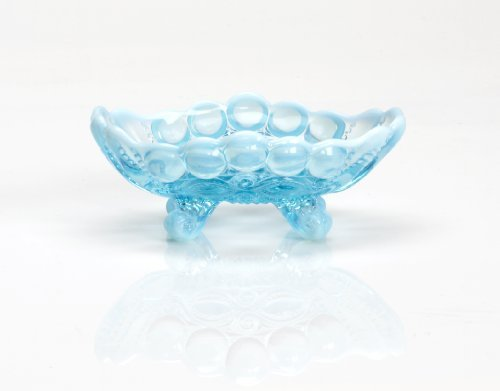 Blue Opalescent Glass Footed Nut Bowl Dish in Eyewinker Pattern by Trail Town Finds Blue Footed Bowl