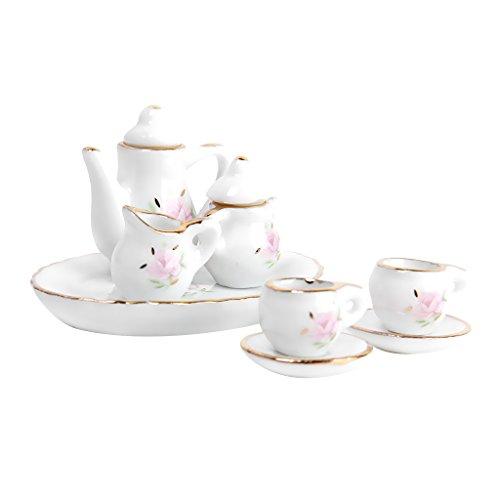 8 Stk. Puppenhaus Miniatur Restaurants Ware Porzellan Tee Set Teller Tasse Teller Blumendruck Tee-set Fall