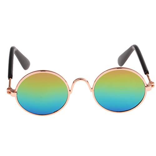 Fenteer 1 Paar Süße Rundform Brillen Sonnenbrillen Für 1/6 Blythe, BJD Puppen Bekleidung Zubehör - Golden B