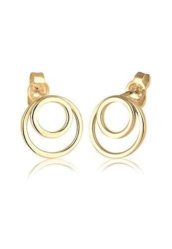 Elli Damen-Ohrringe Kreis Ringe Basic Geo Minimal Layer Trend Filigran vergoldet silber 925 0301490517