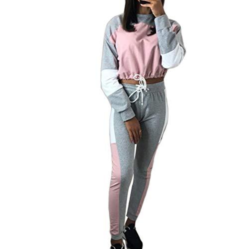 Heeyuan Mujer Casual Elegante Suave y Confortable Chandal para Conjuntos Sweatshirt Manga Larga Pullover y Pantalones (Rosa, S)