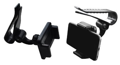Lilware Universal Sunshield Board Clip Voiture Pare-Soleil Agrafe Support de Fixation Pour Téléphone Mobile / MP3 / MP4 / PDA / Navigation GPS. Multifonctionnel Auto Mont Avec Ouverture Max. de 85 mm et Rotation à 360 Degrés. Noir