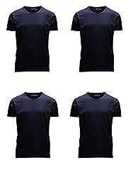 JACK & JONES Herren T-Shirt Basic 4er PACK O-Neck V-Neck Tee S M L XL XXL (L, 4er O-NECK blau)