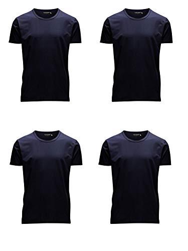 JACK & JONES Herren T-Shirt Basic 4er PACK O-Neck V-Neck Tee S M L XL XXL (M, 4er O-NECK blau)