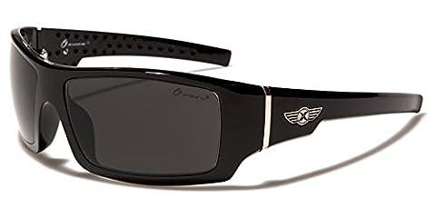 New Oxigen Designer Shield Rectangle Men Women Biking Driving Sunglasses Full UV400 Protection Free BeachHutSunglasses microfibre pouch included (BLACK/BLACK