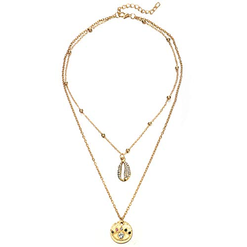 ZYUEER Personalisierte Diamond Shell Farbe Auge Doppel Halskette Schmuck -