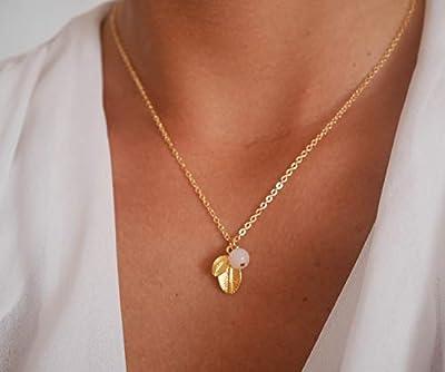 Collier feuilles plaqué or - Collier perle de verre rose pastel - chaîne doré - bijoux feuille - collier mariage, demoiselle d'honneur