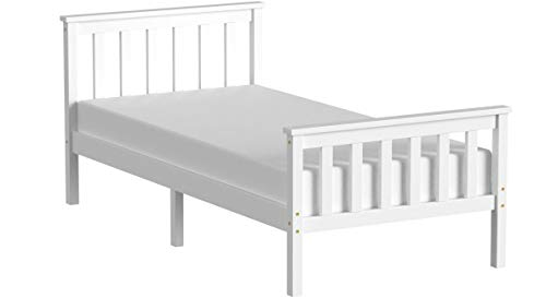 Panana Single Bed in White 3ft Single Bed Wooden Frame White
