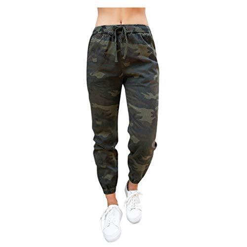 Komise Fashion Damen Camouflage Schnürtaschen Freizeithosen Hosen (M, Camouflage)