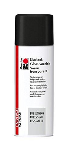 Marabu 23111018857 - Klarlack, UV - beständiges Lackspray für hochglänzende Optik, für nahezu alle Oberflächen, styroporfest, lichtecht, schnell trocknend, wetterfest, 400 ml, transparent