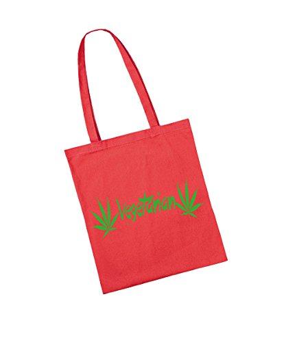 -- Vegetarian -- grüner Aufdruck Baumwolltasche Rot