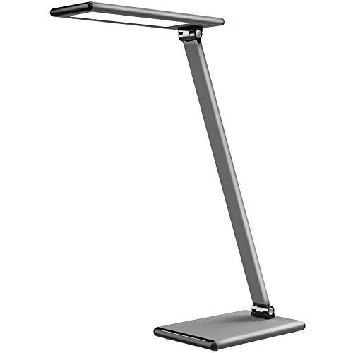 MoKo LED Lámpara Escritorio, Lámpara de Mesa Flexo 8W Regulable, Brillo y Temperatura de Color Sin Niveles con Ángulo Ajustable, Control Ttáctil, Cuidado a Ojos, Función de Memoria, Plata
