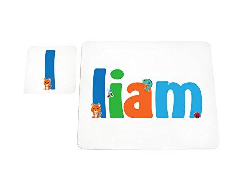 Little Helper Liam de Coast erandpl acemat de 15de personnalisée, fille nom et dessous de 4 sets de table avec finition brillant, Liam