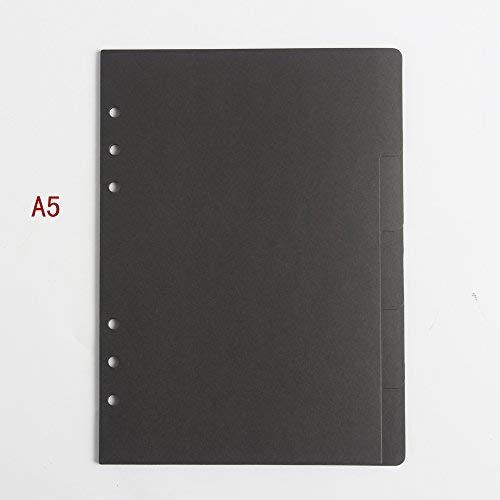 Classic 6Löcher Register Papier Spirale Notebook Zubehör Stationery, feine Index Label Papier für die Organisation Planer a5a6 black A5 (Spirale Papier Binder)