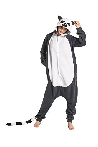 Fandecie Tier Kostüm Tierkostüm Tier Schlafanzug Pyjamas Jumpsuit Kigurumi Damen Herren Erwachsene Cosplay Tier Fasching Karneval Halloween (Katta, XL:Höhe 180-189cm)
