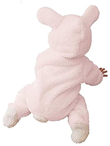Piccoli monelli pigiama pigiamone tutina coniglietta rosa bambina neonata in pile adatto anche come costume o tutone caldo di carnevale tg 100 cm rosa con piedini