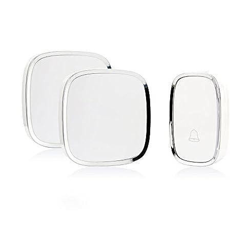 Refoss Sonnette sans fil avec 1 Bouton à distance (batterie fournie) et 2 Plugin récepteurs fonctionnant à 500 pieds de portée avec 36 Melodies, CD qualité sonore et flash LED, Blanc