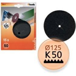 KWB Schleifscheiben Holz und Metall Korn 50, 125 mm, 15 Stück, 4902-30