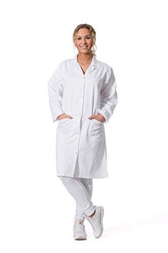 ZOLLNER® weiße Laborkittel /Ärztinnenmantel / Kittel für Damen / Berufsmantel mit Reverskragen und Druckknopfverschluss, 100% Baumwolle, Größe 38, in weiteren Größen erhältlich, Serie 'Cleo'