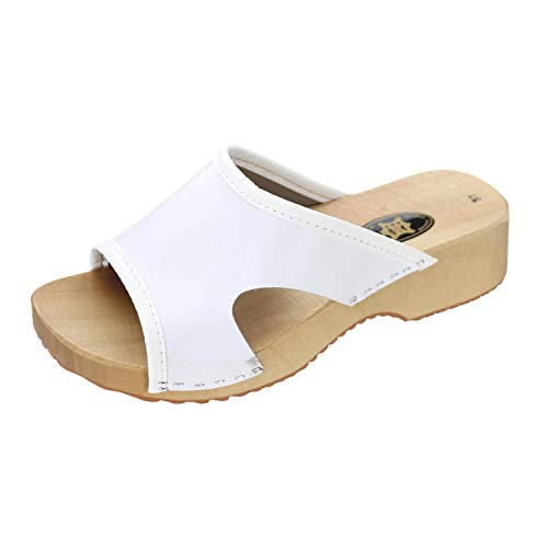 Forfus Damen Clogs Holzschuhe Leder Pantoletten, Farbe: Weiß, Größe: 40