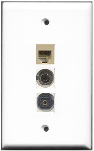 RiteAV–1Port Telefon RJ11, RJ12, beige und 1Port Toslink und 1Anschluss, 3,5mm, Weiß, (Weiß Coupler Cat5e Keystone)
