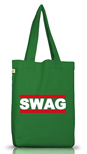 Shirtstreet24, SWAG TAG, Swagger Rap Hip Hop Jutebeutel Stoff Tasche Earth Positive (ONE SIZE) Moss Green