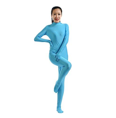 ntai Catsuit Halloween Cosplay Bodysuit Leistung Kostüm Unitard Licht Blau S (Spandex Bodysuit Halloween)