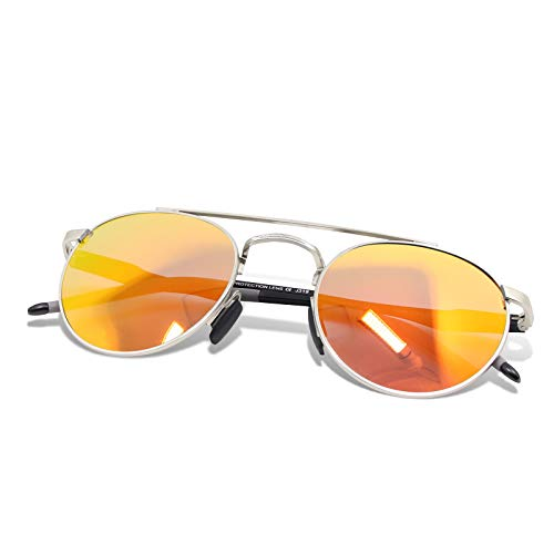 WHCREAT Unisex Retro Runde Polarisierte Sonnenbrille Mode Vintage Style Ultraleicht AL-MG Rahmen HD Linse für Herren und Damen - Silber Rahmen Rot Linse (Red John Sonnenbrille)