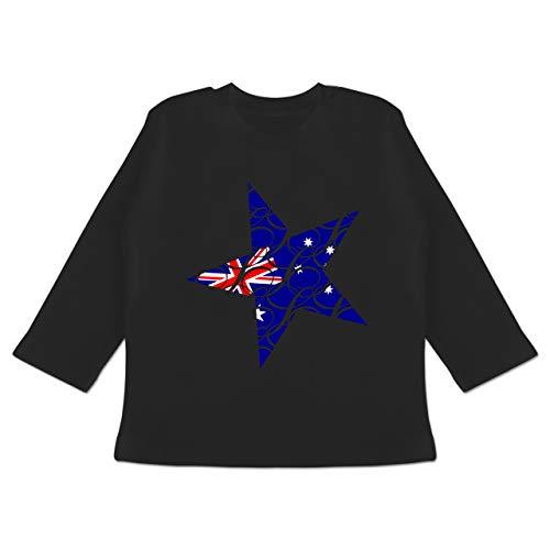 by - Australien Stern - 12-18 Monate - Schwarz - BZ11 - Baby T-Shirt Langarm ()