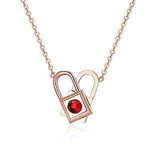 Titan Stahl Damen Halskette Life Lock Liebe Kreatives Herz Lock Variant Rotierende Schlüsselbein Kette