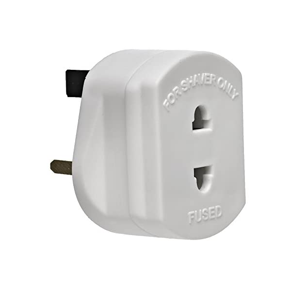 [WHITE] UK Shaver Plug Adaptor 2 Pin to 3 Pin 1A Fuse Wall Plug For Shaving Razor/Trimmer/Toothbrush/Epilators. 31H47dfVZNL